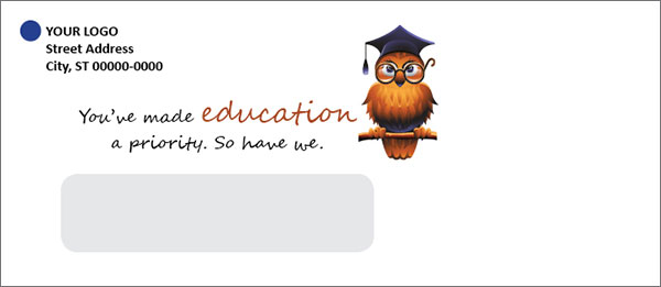 credit union education loan envelope showing an illustration of an owl wearing a graduation cap