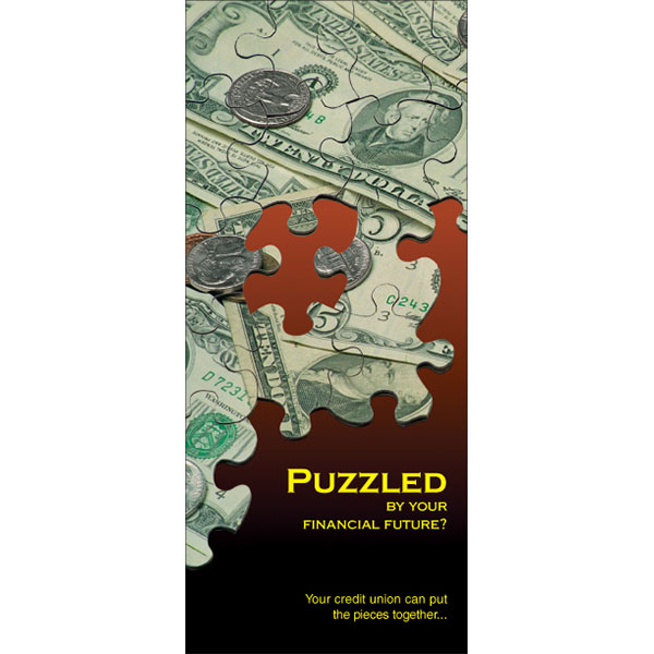 credit union membership statement insert showing puzzle pieces forming U.S. currency; headline: puzzled by your financial future?