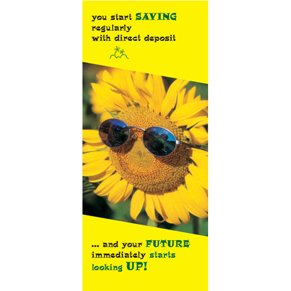 direct deposit savings statement insert showing sunflower wearing sunglasses framed by bright yellow background