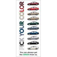 auto loan statement insert showing same car in 10 different colors; headline: pick your color