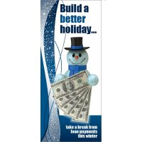 skip a pay statement insert - snowman with $100 bills