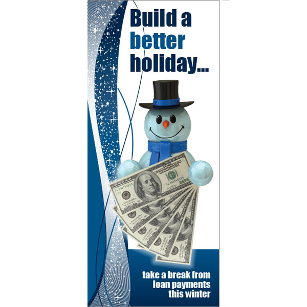 skip a pay statement insert - snowman with $100 bills