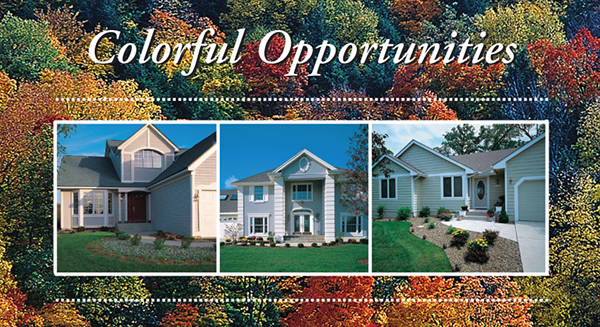 home loan postcard - houses on background of autumn forest