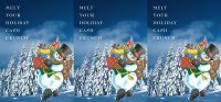 holiday tent card showing snowman carrying gifts against a winter landscape; headline: Melt your holiday cash crunch