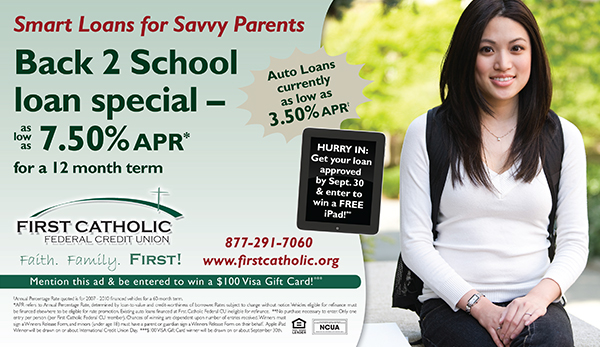 school themed signature and auto loan ad showing smiling high school or college girl wearing backpack