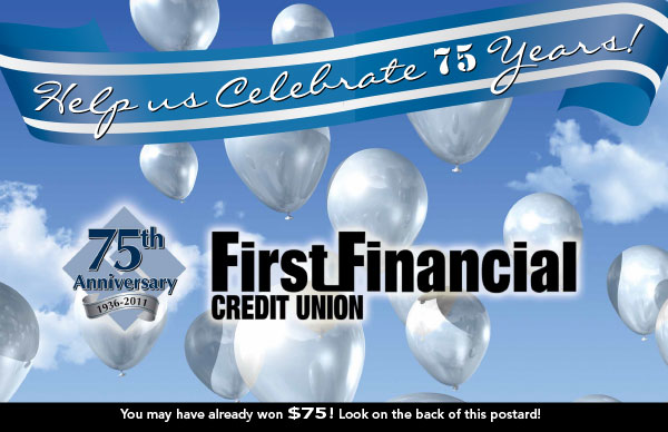 credit union anniversary postcard showing silver balloons in sky; headline: help us celebrate 75 years