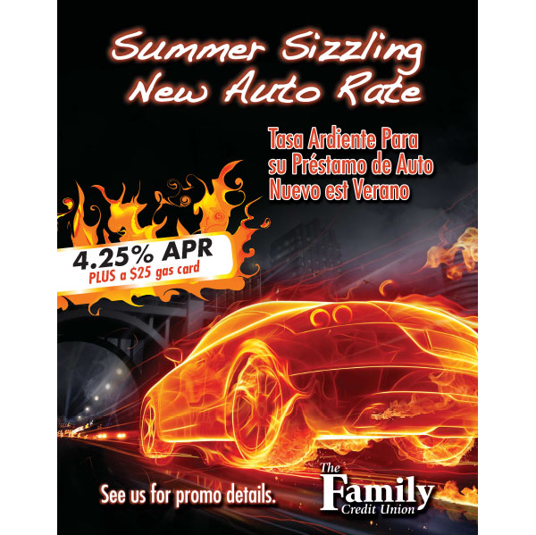 credit union auto loan poster showing sports car made of fire; headline: summer sizzling new auto rate