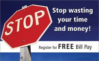 Stop sign themed Bill Pay postcard