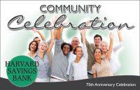 anniversary postcard showing group of smiling people waving; headline: community celebration