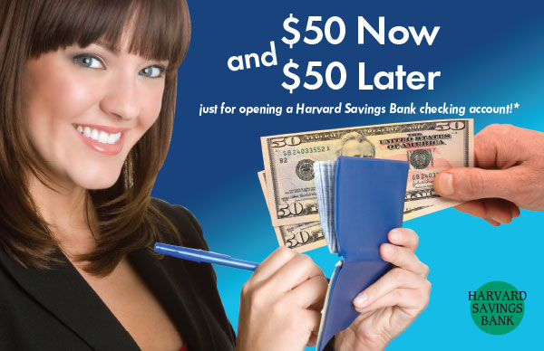 checking account postcard showing smiling woman writing in checkbook and hand offering two $50 bills; headline $50 now and $50 later