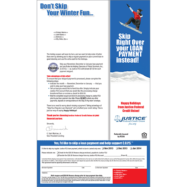 Snowboard themed Skip a Pay direct mail