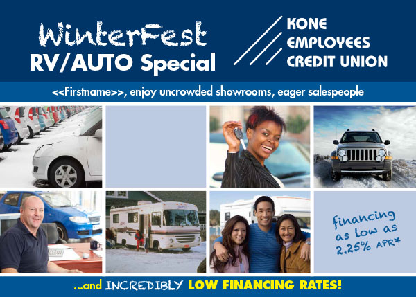 credit union RV and auto loan postcard showing new cars, woman holding car keys, loan officer, RV, family of three; headline: winterfest RV/auto special
