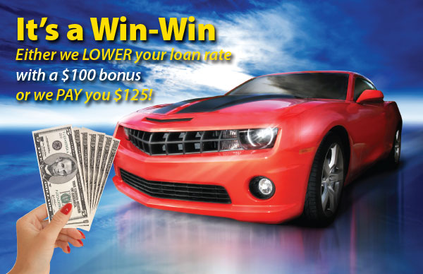 credit union auto refinancing postcard showing red sports car on blue background along with hand holding cash; headline: it's a win-win