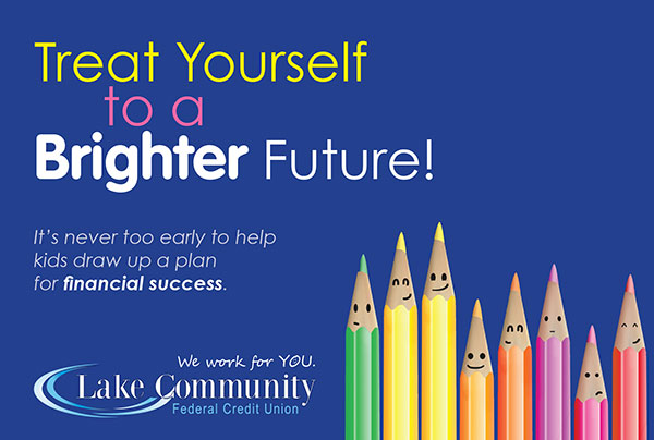credit union membership youth accounts postcard showing smiles drawn on tips of brightly colored pencils on blue background; headline: treat yourself to a brighter future