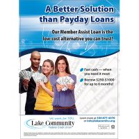 payday alternative loan poster showing three smiling people holding fanned cash; headline: a better solution than payday loans