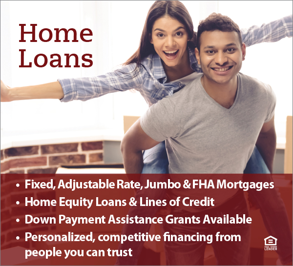 Smiling couple on home loans banner