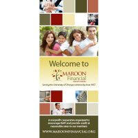 credit union membership welcome banner showing business team hands, smiling family of four, cash, ATM