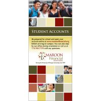 credit union student accounts statement insert showing four smiling college students, cash, woman using online banking, graduates