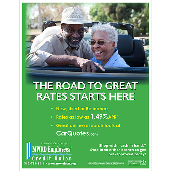 auto loan poster - african american couple in convertible