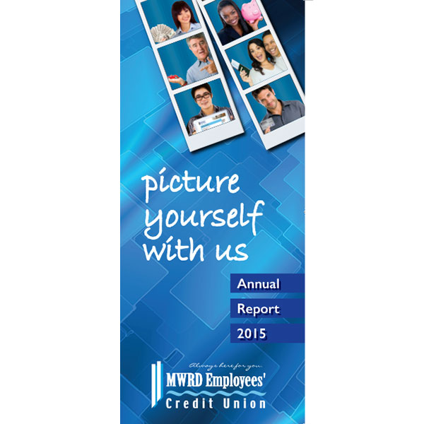 annual report brochure showing photo booth strips of members with financial products; headline: picture yourself with us