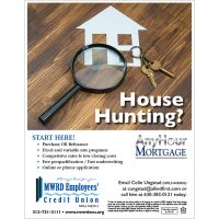 mortgage poster - house hunting, magnifying glass, keys