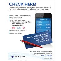 checking poster showing mobile banking and checkbook