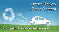 auto loan postcard - drive green, save green
