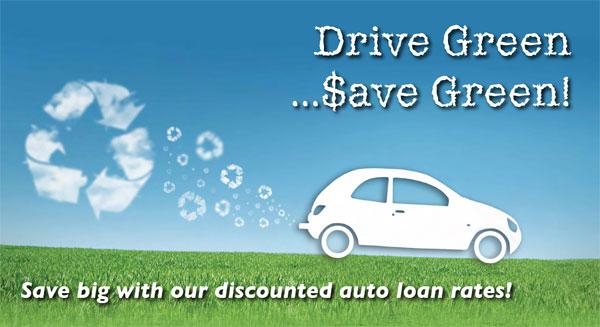 auto loan postcard - drive green, save green