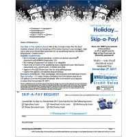 holiday skip a pay direct mail showing white gifts illustration on a dark blue background