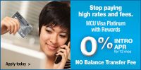 smiling woman shopping online with credit card; headline: stop paying high rates and fees