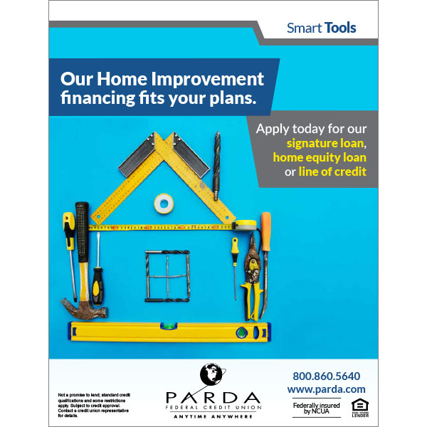 home loan poster - showing tools forming a house