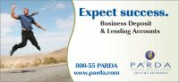business ad - expect success man jumping for joy outside