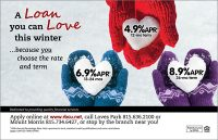 winter themed loan rates ad