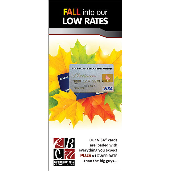 autumn themed credit card buck slip