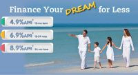 credit union loan rate web graphic showing family walking on beach and various rates; headline: finance your dream for less