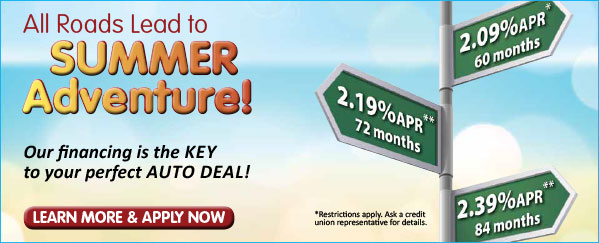 credit union auto loan web graphic showing street signs of various rates; headline: all roads lead to summer adventure
