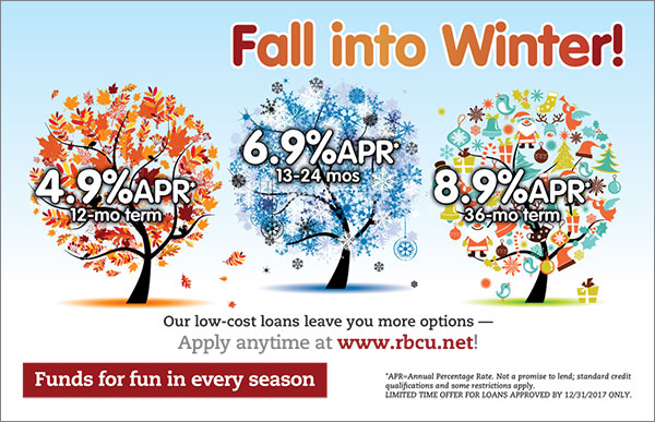 fall, winter, Christmas tree illustrations showing alternate loan rates for various terms; headline: fall into winter