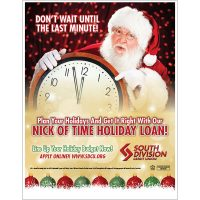 holiday loan poster showing santa with clock; headline: nick of time holiday loan