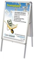 aluminum A-frame double sided sidewalk sign showing credit union loan promotion poster