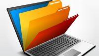 computer file folders on laptop