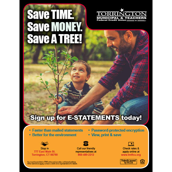 e-services poster - save time, save money, save a tree, dad planting sapling