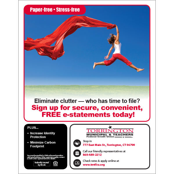 e-services poster - paper-free, stress-free, woman leaping for joy