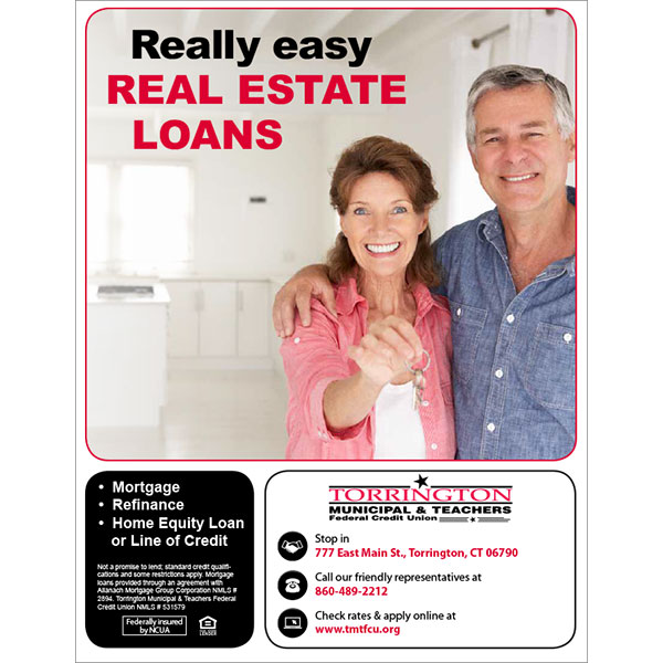home loan poster - middle aged couple holding keys in empty room