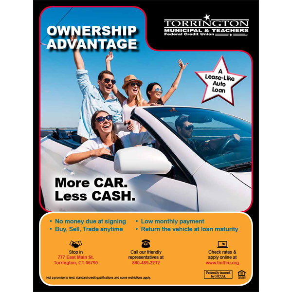 auto loan poster - more car less cash, five millennials in convertible