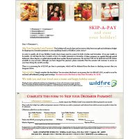 skip a pay direct mail showing four holiday snapshots on gold snowflake background